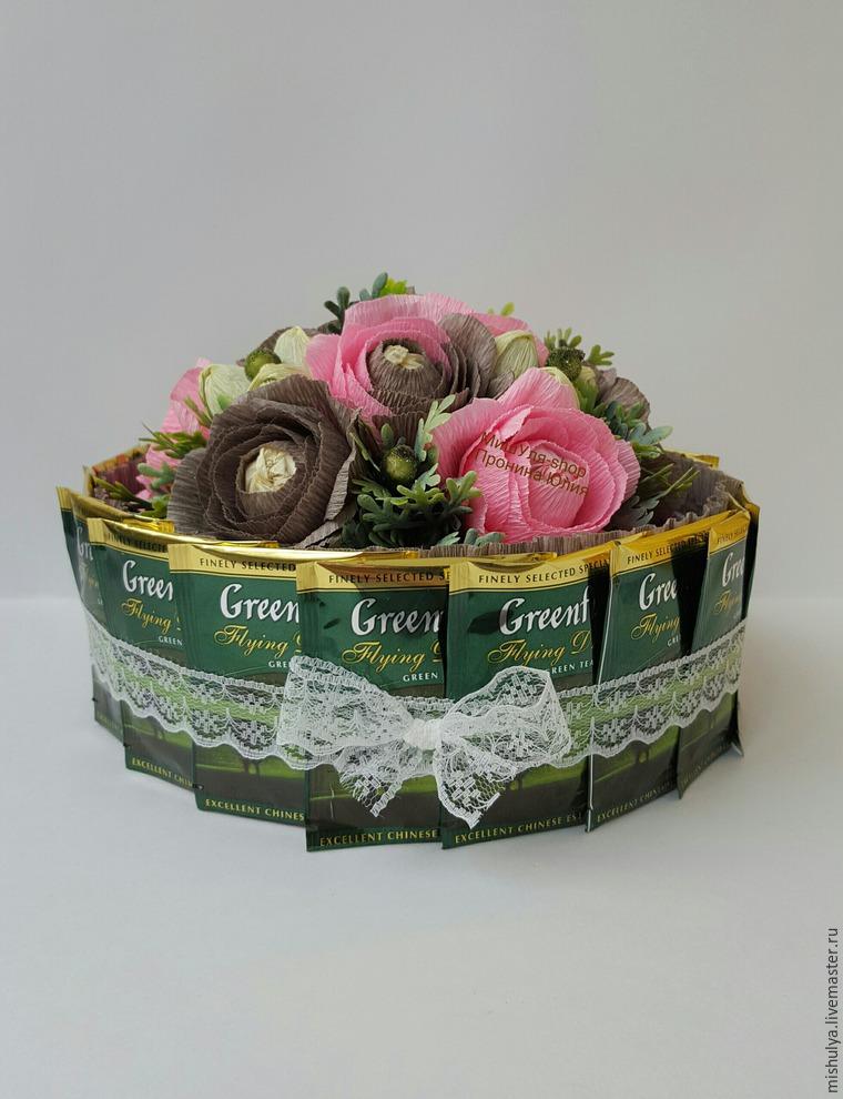 Букет из пакетиков чая мастер класс
