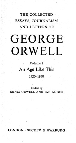 George orwell the collected essays journalism and letters