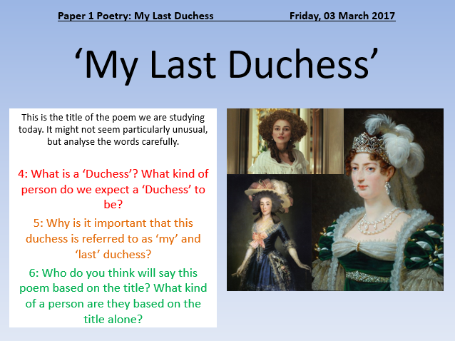 Essay on my last duchess by robert browning
