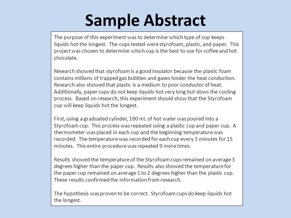 Sample of science fair research paper