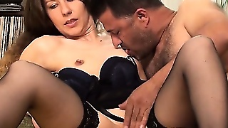 Sexy lesbians at a cfnm party