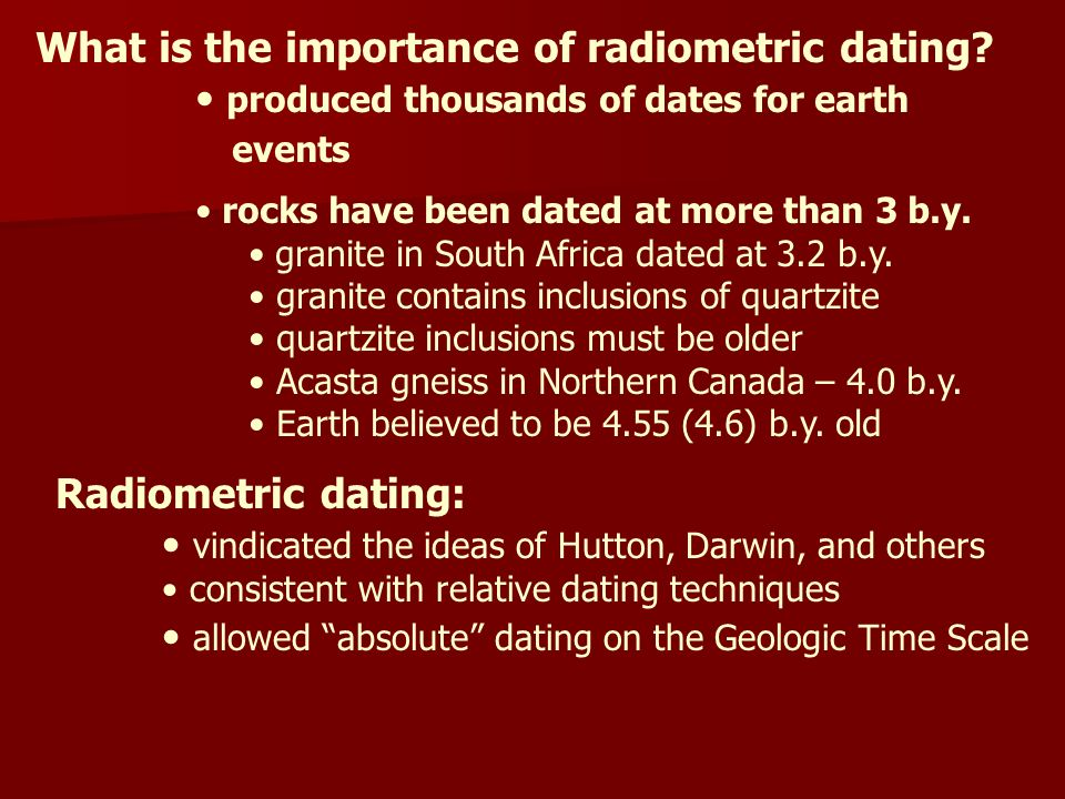Radiometric dating is an example of