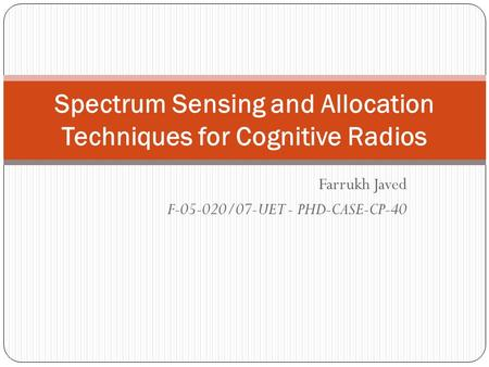 Cognitive Radio Phd Thesis