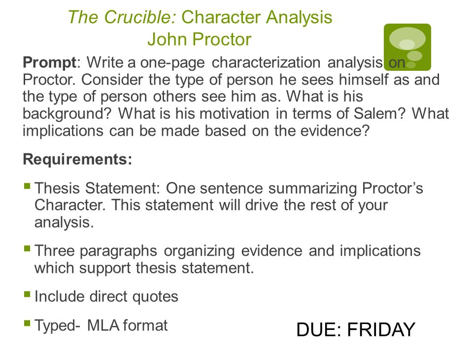 Write my john proctor the crucible character analysis essay