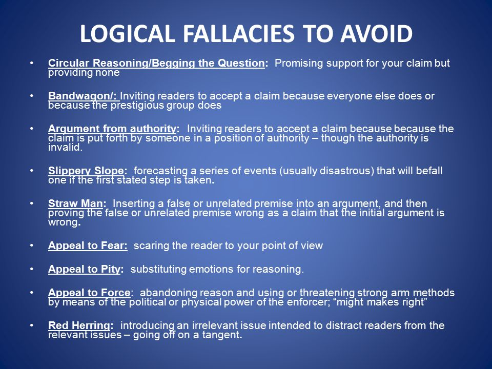 Write my ways to avoid fallacies in your thesis