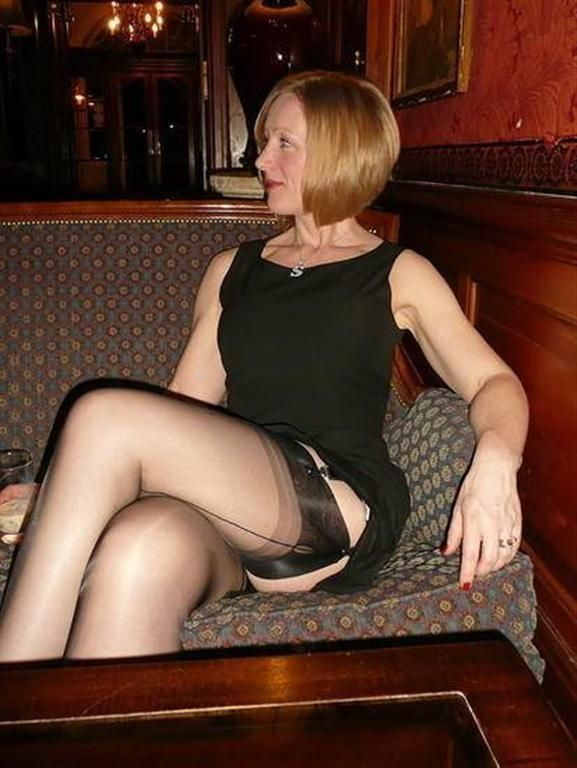 Mature nylons in public