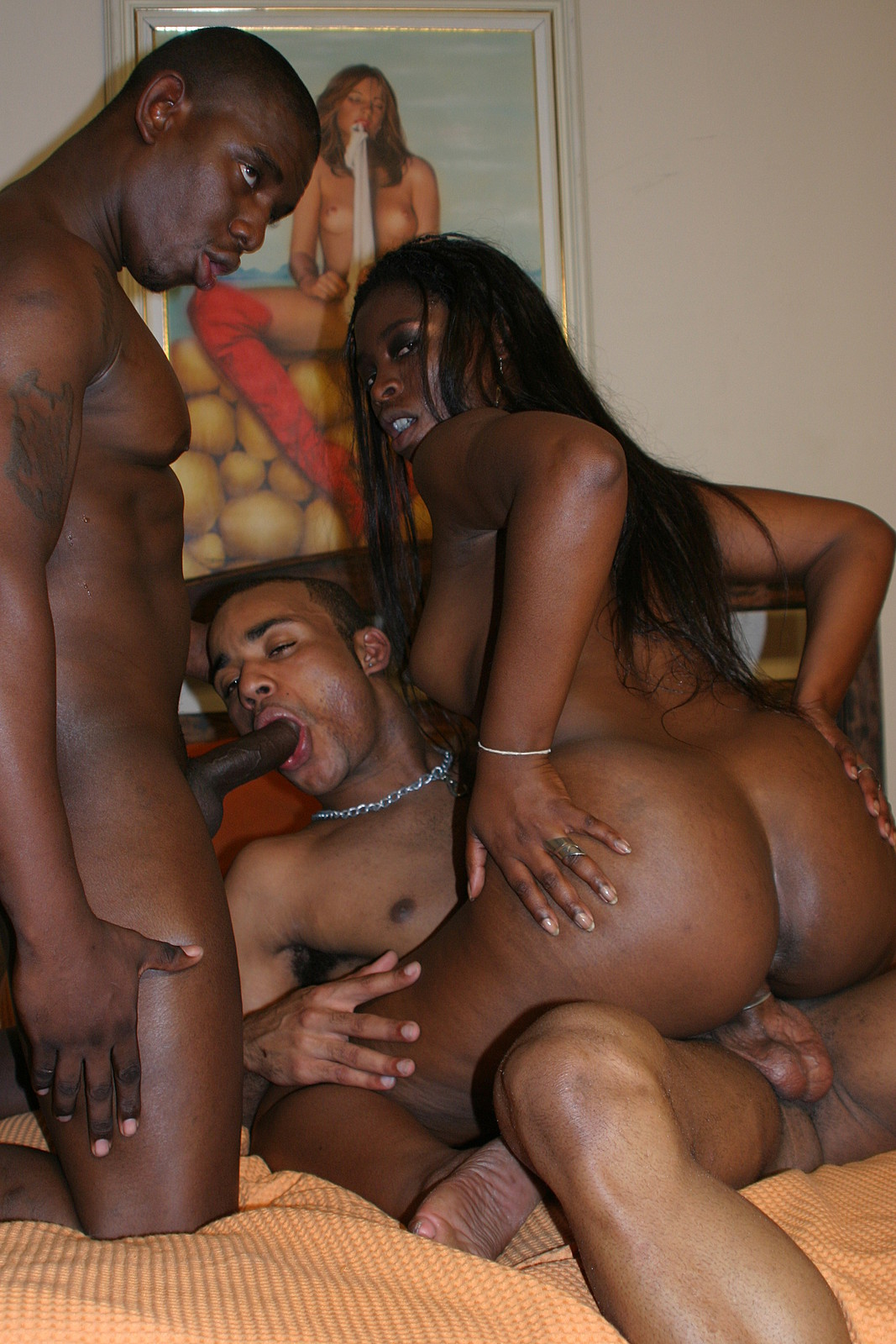 Two Bisexual Men Fucking Black Woman - Interracial-5445