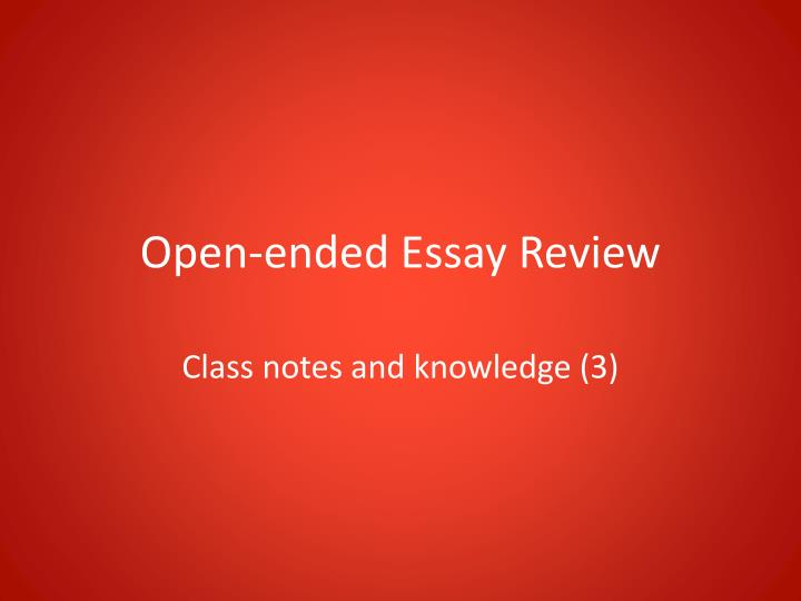 Open ended essay prompts