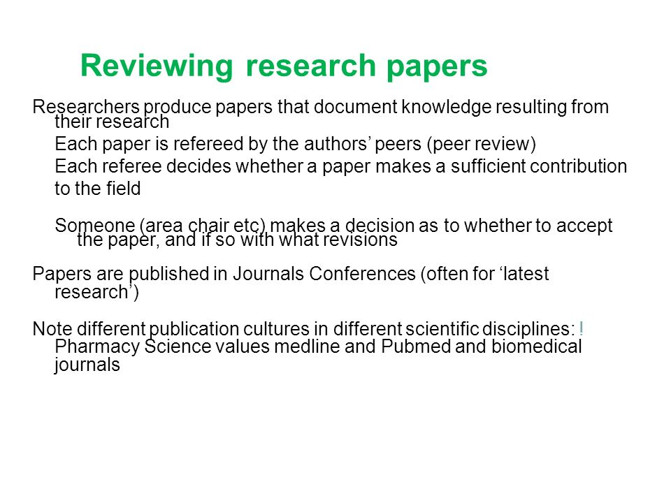 Papers on research