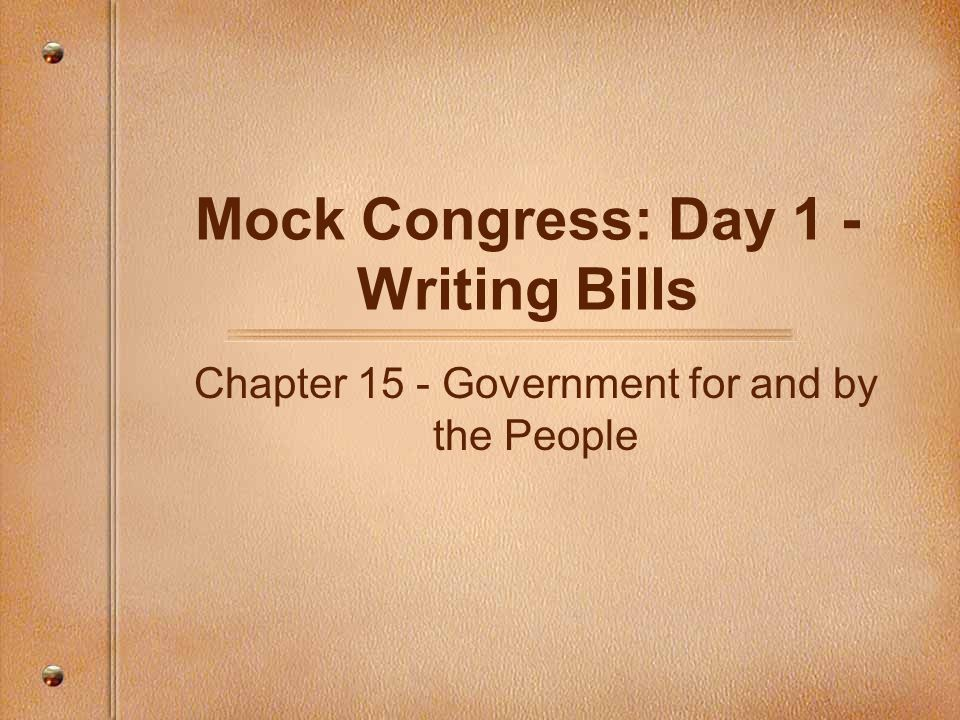 Instructions for mock congress