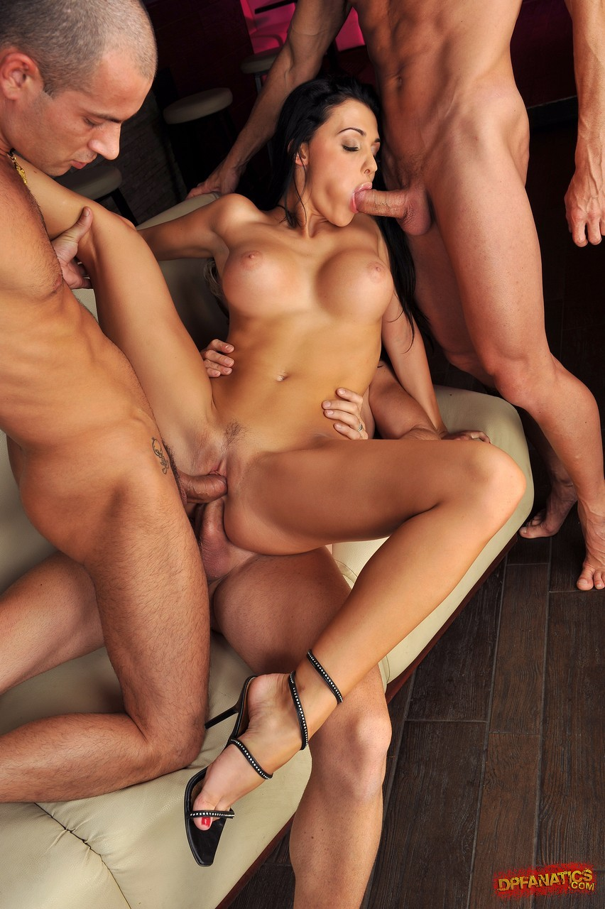 Sexy brunette group sex