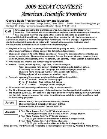 Essay writing contests 2009
