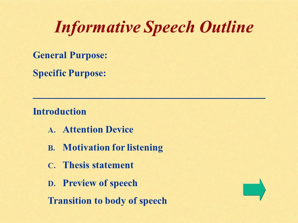 Informative speech thesis