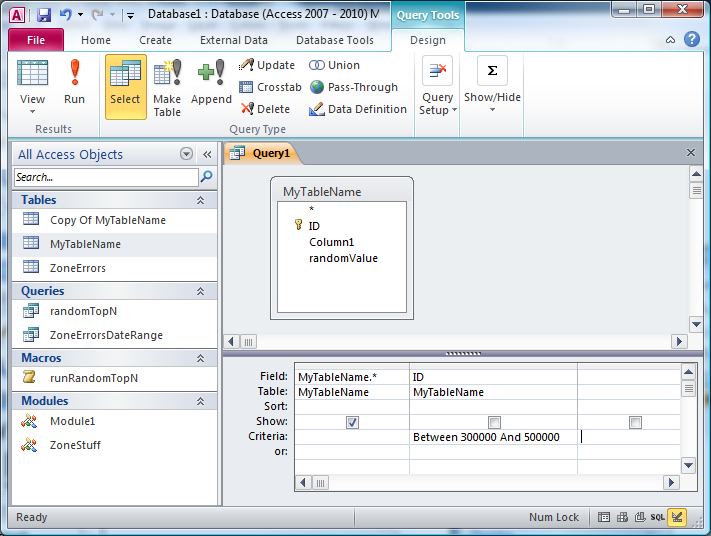 Define date range in access query