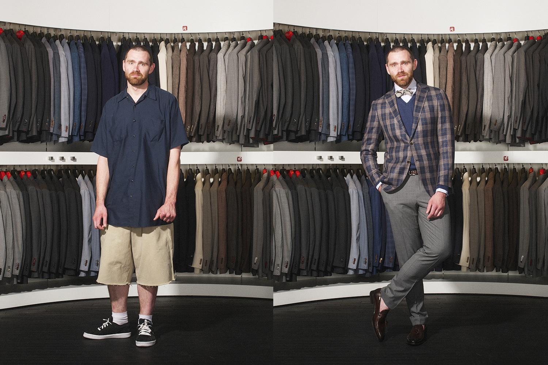 Справа: пиджак, 17 700 р., рубашка, 2 600 р., брюки, 8 400 р., джемпер, 4 000 р., лоферы, 12 800 р., все Suitsupply