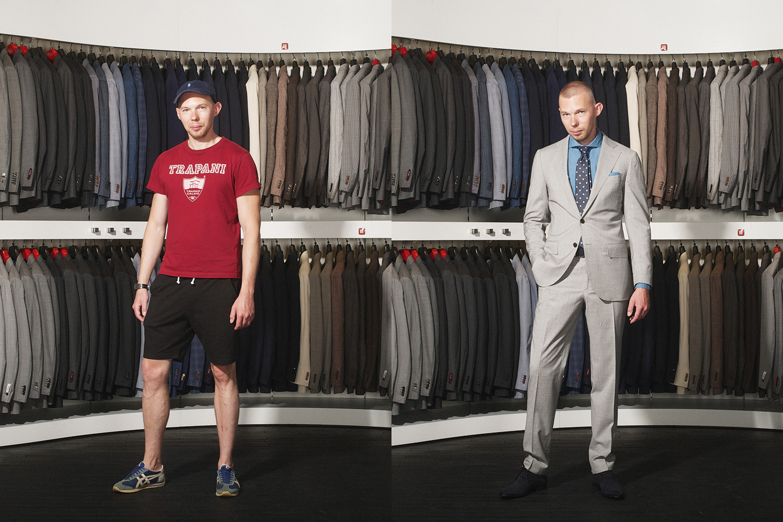 Справа: костюм, 44 400 р., рубашка, 3 500 р., галстук, 2 900 р., ботинки, 12 800 р., ремень, 2 600 р., все Suitsupply