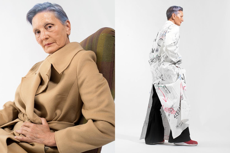 Слева: пальто osome2some, 28 600 р.; справа: пальто Raf Simons, 159 200 р., брюки Zara, 3799 р., кроссовки Asics, 7290 р.