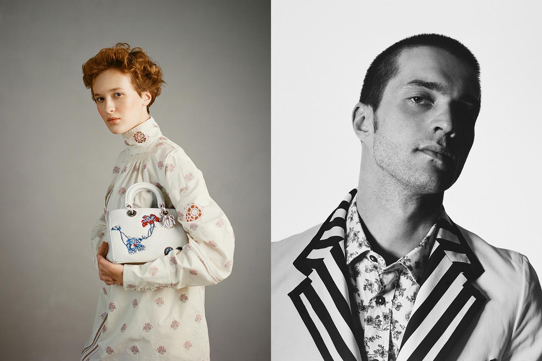 Слева: платье и сумка Dior. Справа: пиджак Gucci, рубашка Hugo Boss