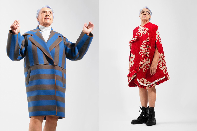 Слева: пальто N°21, 111 500 р., водолазка Uniqlo, 1299 р.; справа: кейп Simone Rocha, 179 900 р., ботинки Versus Versace, 28 900 р.