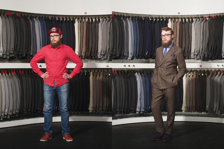 Справа: костюм, 26 600 р., рубашка, 2 600 р., лоферы 12 800 р., галстук 2 900 р., все Suitsupply