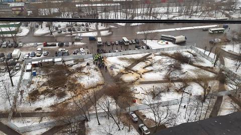 Вид на сквер сверху после сноса всех деревьев