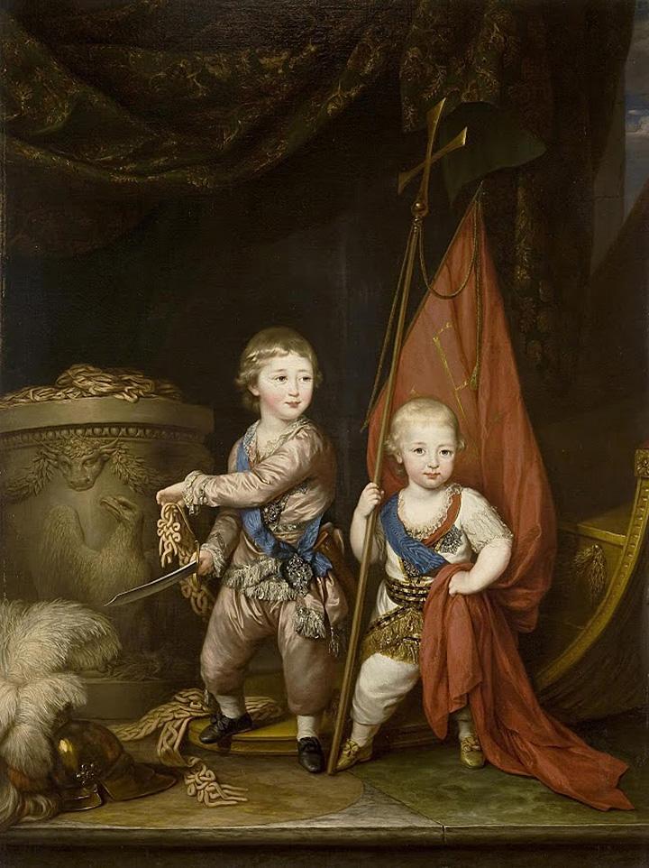 Будущий император Александр Первый и его брат Константин с атрибутами Греческого проекта Екатерины Второй