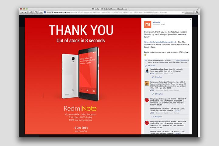 Филиал компании Mi India благодарит покупателей, разобравших партию телефонов за 8 секунд