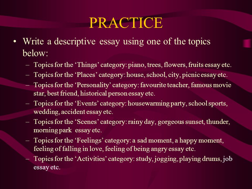 Topic for writing an essay