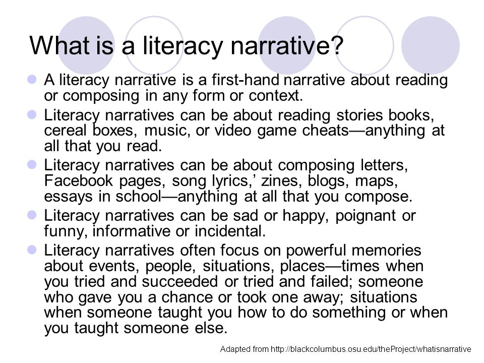 Write my literacy narrative papers