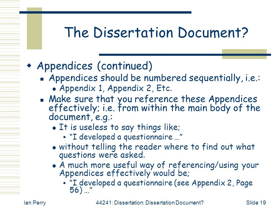 Questionnaire dissertation examples