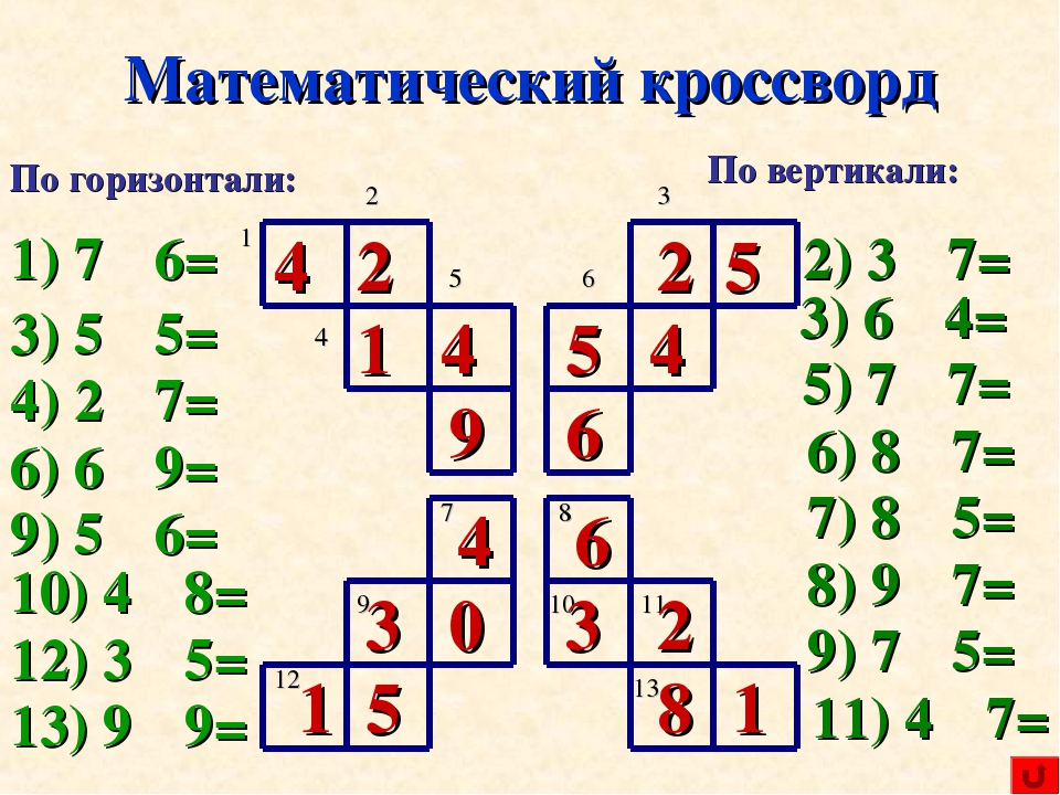 Кроссворд для 7 класса по математике с ответами