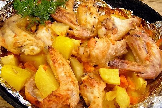Крылышки с овощами в духовке калорийность