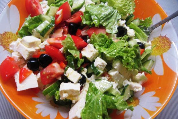 Салаты овощные с маслинами 8