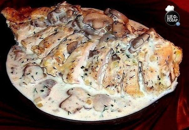 Блюда из грудки и грибов