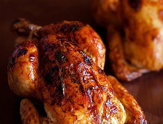 Курица, запеченная в хрустящей корочке, с имбирем и апельсинами