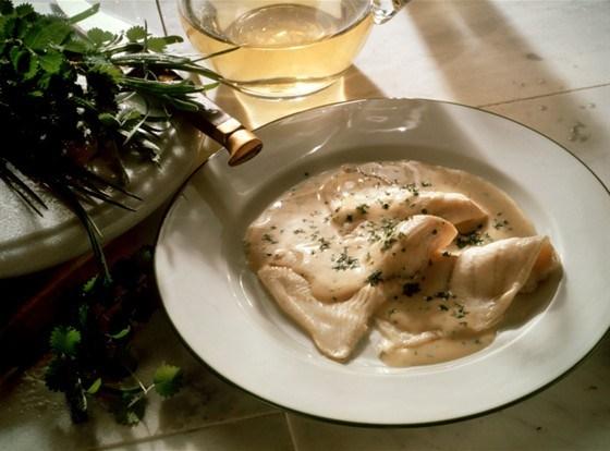 Филе морского языка с соусом бешамель а-ля гратен