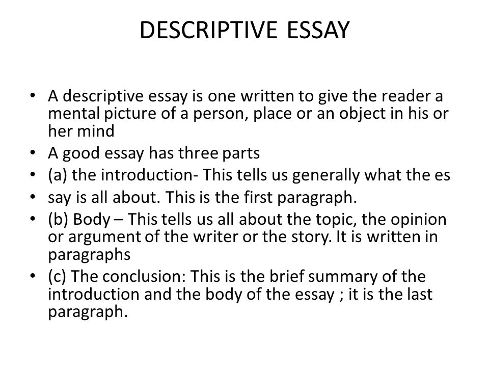 Sample descriptive essay about a place