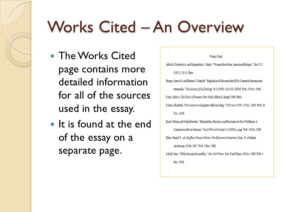 Works cited essay in a book