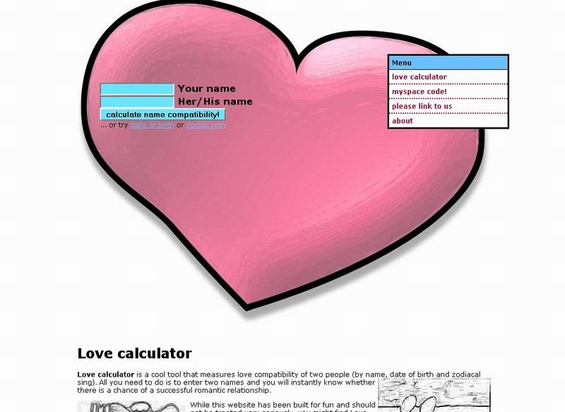 Dating calculator names