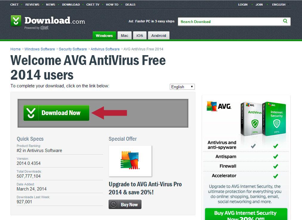 Download AVG AntiVirus FREE 1425